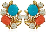 Ben-Amun Jewelry Santorini Turquoise Coral Stone Glass Pearls Gold Clip On Earrings
