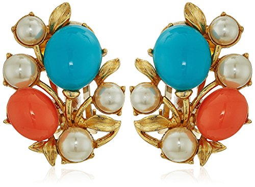 Ben-Amun Jewelry Santorini Turquoise Coral Stone Glass Pearls Gold Clip On Earrings - Gold Turquoise Coral
