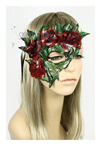 Handcrafted Leather Rose Mask (Right Side) (Pink Nymph Fairy Costume)
