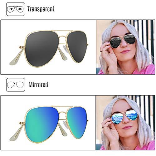 Livhò Sunglasses for Men Women Aviator Polarized Metal Mirror UV 400 Lens Protection (Gold Grey+Blue Green) by Livhò (Image #2)