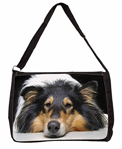 Tri-Colour Rough Collie Dog Large 16 Black School Laptop Shoulder Bag BTJBnRmyy