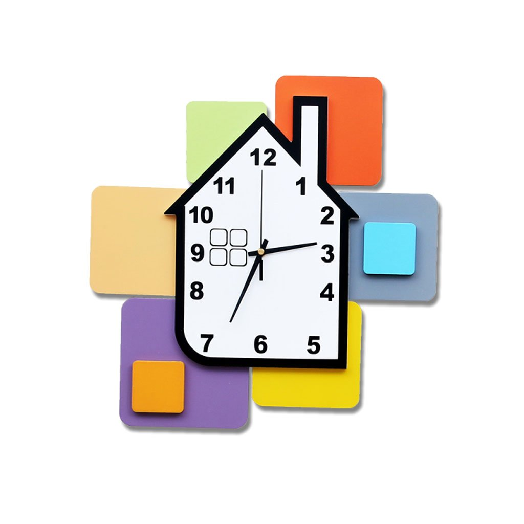 FriendShip Shop Wall Clock - Colorful Children Kids Wall Clock Building Blocks Clock Nursery Decor Boys/Girls (Color : B)