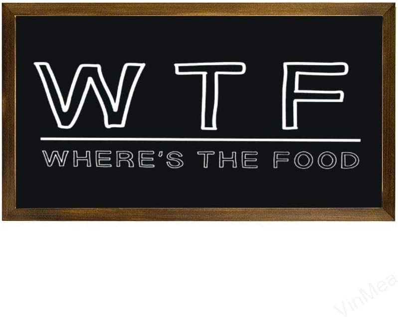 VinMea Home Decor Wood Sign WTF Where's The Food Framed Wood Sign,Rustic Wall Art Sign 12
