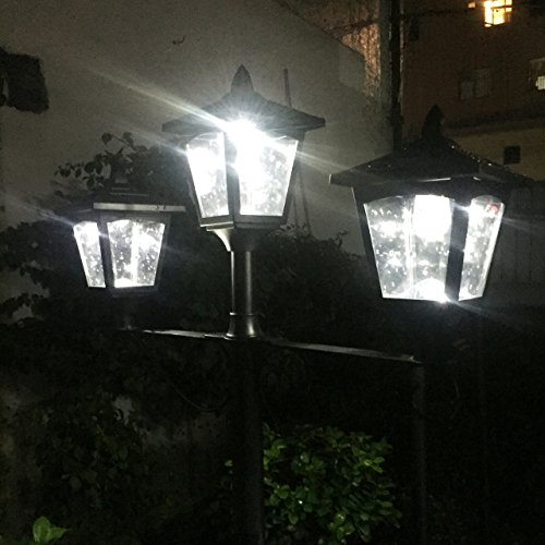 Kanstar 57019b street vintage outdoor garden triple solar lamp post kanstar 57019b street vintage outdoor garden triple solar lamp post light adjustable aloadofball Image collections