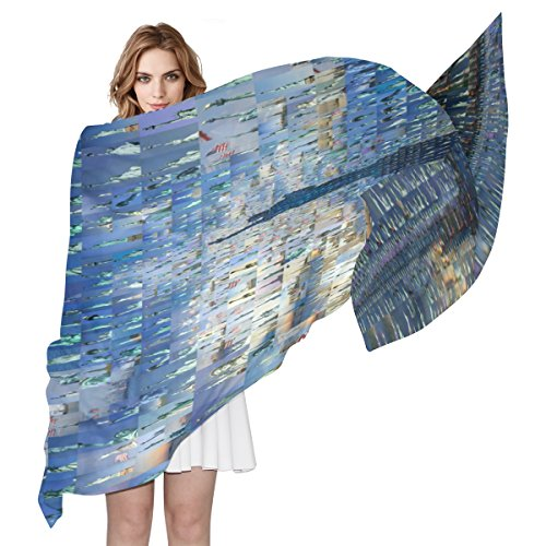 WDYSECRET Statue Of Liberty Silk Printing Scarves for Women - Silk Liberty Scarves