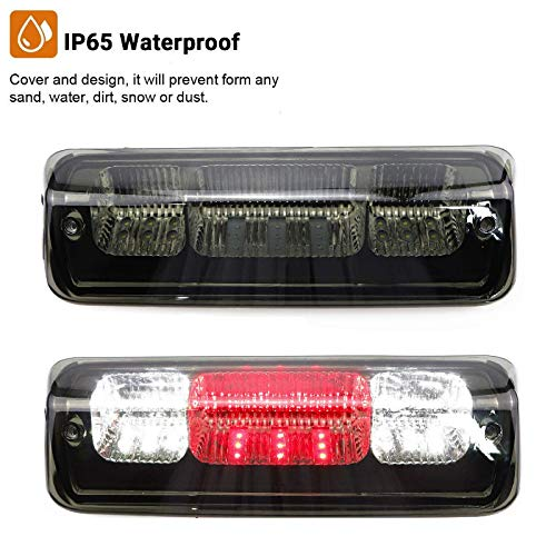 High Mount Waterproof Dual Row LED 3rd Third Tail Rear Brake Light Cargo Lamp Replacement For 2004 2005 2006 2007 2008 Ford F-150 Lincoln Mark LT (Smoke Lens)