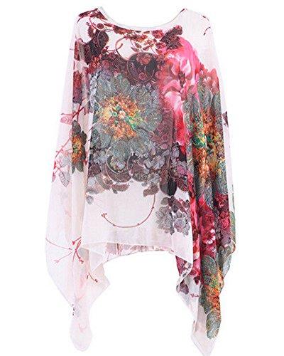 Blouse Hippie ZiXing Blanc Manches Shirt Mousseline Tops Bohme Femmes SoieFleurs de en Batwing T rqIU7I