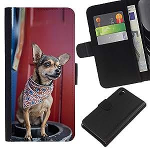 Sony Xperia Z3 D6603 - Dibujo PU billetera de cuero Funda Case Caso de la piel de la bolsa protectora Para (Cool Bandana Chiuauah Hipster)