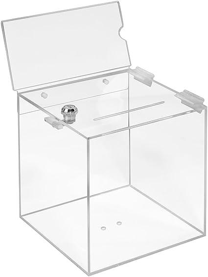 Votaciones de acrílico cristal en 200 x 200 x 200 mm con candado y topschild DIN Largo Horizontal – zeigis®/Dona Caja/caja/sorteo bicicletaDerbystar parte Box/transparente/transparente/acrílico/Plexiglas/abschließbar/versperrbar: Amazon.es: Oficina y ...