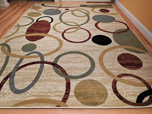 Home 8×11 Floral Area Rugs Contemporary Rugs 8×10 Nice Rug Bedroom Circles Wave Inspired India Printed Rug, Large 8×11 Feet