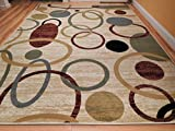 New Home Cream Contemporary Rugs For Hallways & Kitchen Rugs 2×8 Runner Scatter Rug Cream Circles Wave Inspired India Printed, 2×8 Feet Review