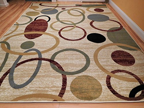 New Home MultiColor Modern Rugs For Living Room Abstract Circles 5×8 Rugs For Brown sofa 5 by 7 Wave Inspired India Printed Rug, 5×8 Feet