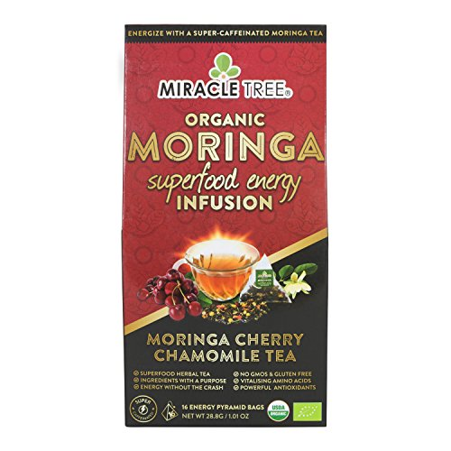 Miracle Tree's Energizing Moringa Infusion - Cherry Chamomile Tea | Super Caffeinated Blend | Healthy Coffee Alternative, Perfect for Focus | Organic Certified & Non-GMO | 16 Pyramid ()