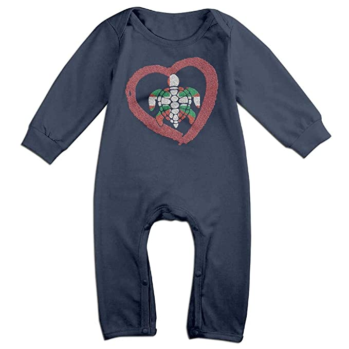 Fashion Sea Turtle Heart Playsuit Long Sleeve Cotton Bodysuit for Baby Boys and Girls