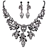 EVER FAITH Halloween Vintage Style Skull Snake Necklace Earrings Set Black Austrian Crystal