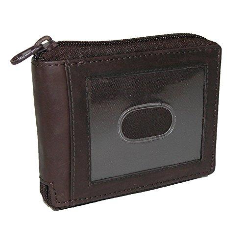 Paul & Taylor Mens Leather Zip Around Bifold ID Wallet, Brown