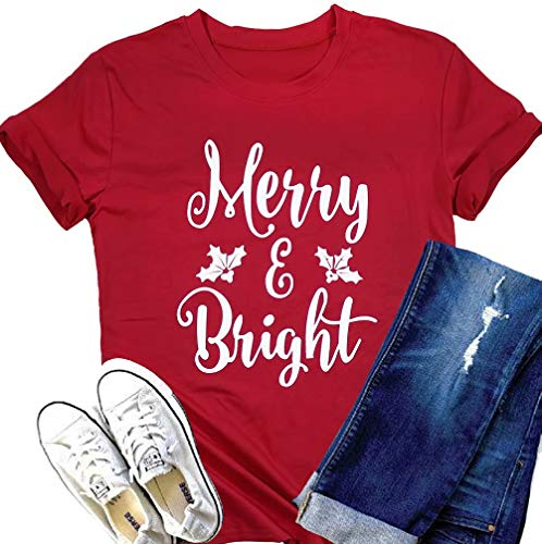 Merry and Bright Christmas T Shirts Womens Merry Christmas Letter Printed Shrot Sleve Holiday Shirt Tee Tops Red