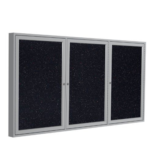 Ghent 36''x72'' 3-Door indoor Enclosed Recycled Rubber Bulletin Board, Shatter Resistant, with Lock, Satin Aluminum Frame, Confetti (PA33672TR-CF) ,Made in the USA by Ghent
