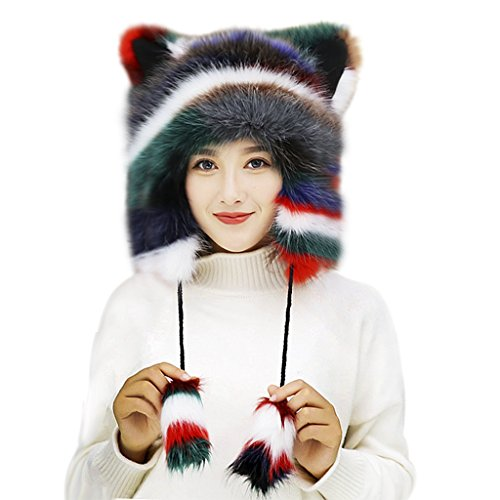 Fox Fur Earmuff Winter Hats for Women Girls Thermal Fluffy Furry Fur Ear Warmers Earflap Outdoor Running Motorcycling Snow Skiing Cap Insulated Cold Weather Headbands Party Costume Gift (Colorful)