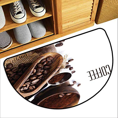 DILITECK Welcome Door mat Coffee Bean and Ground Plants Filter Coffee Equipment Caffeine Addiction and Tropic Taste Anti-Fading W31 xL20 Brown Green