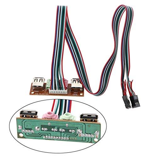 Wondiwe 2-Port USB 2.0 Computer Case Front Panel Jacks Port Mic Earphone Cable