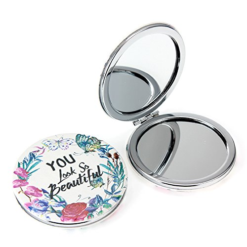 Butterfly Womens Circular Shaped Doodle Design Compact Pocket Mirror Set 2× Magnification + 1× Mirror, Pocket-size, Travel Mirror (BUTTERFLY) Rectangular Compact Mirror