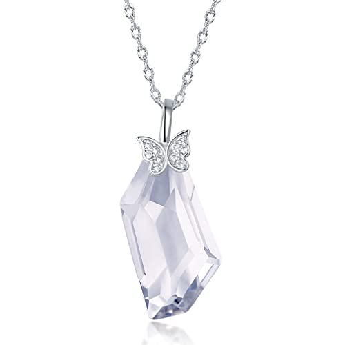 Fine Jewelry Dresses Necklace Gift for Women White Clear Quartz Crystal Sterling Silver Pendant Necklace