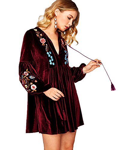 Women Shift Aofur Red Casual Dress Tops Mini Velvet Vintage Spring Long Blouse Bohemian Sleeve Embroidered Wine Uwdwpq