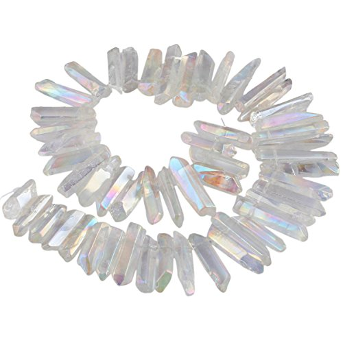 SUNYIK Angel Aura Titanium Coated Crystal Points Quartz Rough Sticks Spikes Point Beads 15 inch Strand Drilled