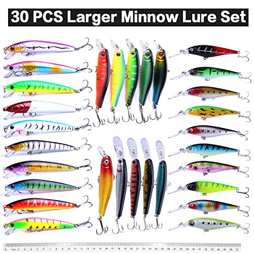 XBLACK Fishing Lures Set Large Hard Bait Minnow Lure with Treble Hook Swimbait Fishing Bait Popper Crankbait Sinking Lure for Bass Trout Walleye Redfish Saltwater Freshwater (30PCS-A)
