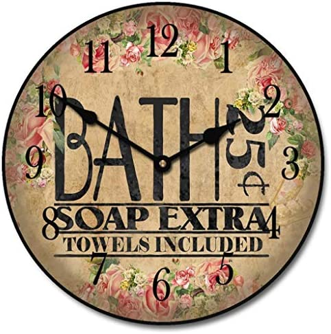 Antique Bath Wall Clock, Available in 8 Sizes, Most Sizes Ship The Next Business Day, Whisper Quiet.