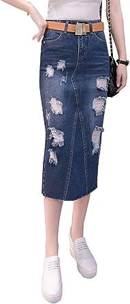 NiSeng Mujeres Moda Cintura Alta A-Linear Faldas Vaqueras ...
