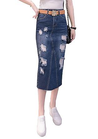 NiSeng Mujeres Moda Cintura Alta A-Linear Faldas Vaqueras Largas ...