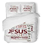 Emvency Bedsure Duvet Cover Set Closure Printed Decorative Christian Religious Words White Jesus Worship Church Love God Bible Gospel Breathable Bedding Set With 2 Pillow Shams Full/Queen Size