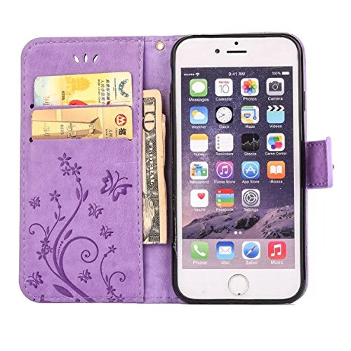 purple Flower Butterfly Pattern Premium PU Leather Wallet Case with Wrist Strap Flip Case Cover iPhone 6S Case,iPhone 6 Case