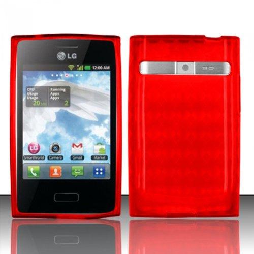LF Red Agryle TPU Soft Gel Case Cover, Lf Stylus Pen and Wiper For StraightTalk Net 10 LG Optimus Logic L35g Dynamic L38c