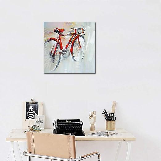 Dibujado a Mano Moderno Arte Pintura Bicicleta Roja Pintura al ...