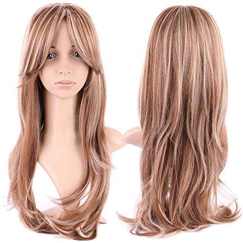 S-noilite Women Long Straight Hair Wig with Bangs Natural Ombre Mix Full Head Wigs Heat Resistant Synthetic Cosplay Daily Party Costume,18.5inch,Brown Blonde Mix