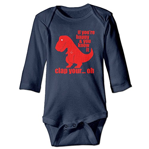 If You're Happy And You Know It Clap Your Hands Dinosaur Baby Long Sleeves Climbing Clothes Unisex Triangle Bodysuit Size 6 M Navy Customize