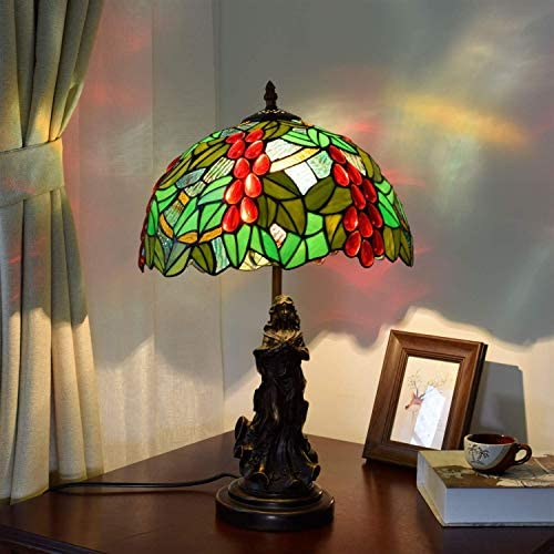 NHLBD Stained Glass Lamp 12 Inch Stained Glass European Retro Green Garden Grape Living Room Dining Room Bedroom Bedside