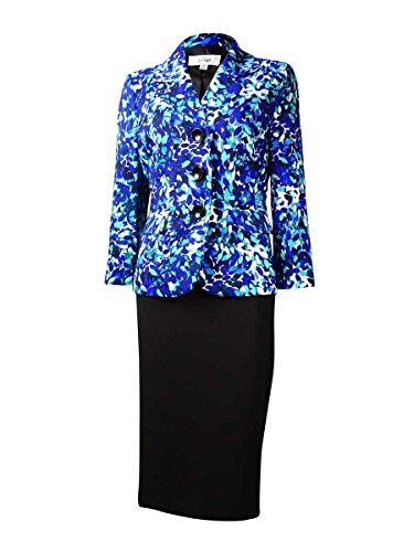 (Le Suit Women's Two-Piece Three-Button Printed Jacket and Skirt Suit Set, Ocean Blue/Black 6)