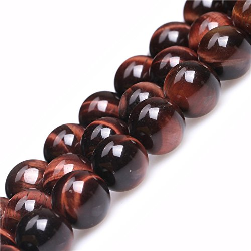 Red Tiger Eye Beads for Jewelry Making Natural Gemstone Semi Precious 10mm Round 15