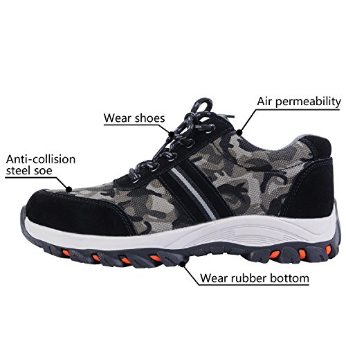 Steel Work Shoes Optimal Camouflage Shoes Shoes Toe Black Safety Men's axfOnF