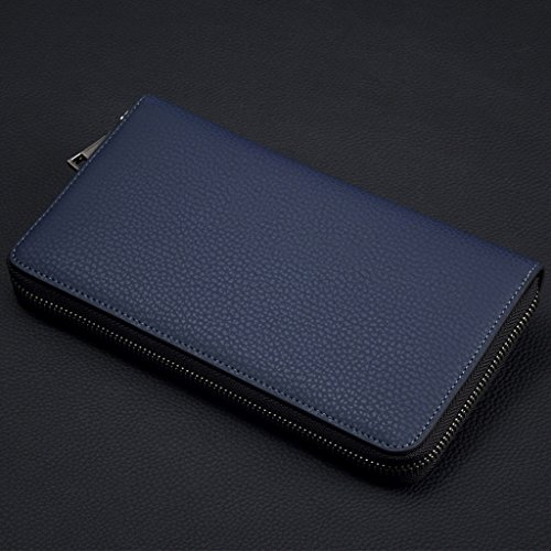 9a01ded130 William POLO Men's Genuine Leather Billfold Wallet Mens Zip Around Long  Purse Business Clutch Bags Zipper