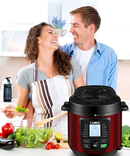 Luby Electric Pressure Cooker 6 Qt,16 Smart Programmable,Slow Cooker Yogurt Maker Rice Cooker Saute Steamer Egg Cooker Sous Vide Warmer,Red (GT606)