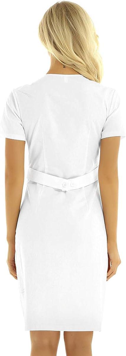 iiniim Damen Kittel Arztkittel Laborkittel Krankenschwester Kost/üm Uniform Kleid Medizin Labor Berufsbekleidung