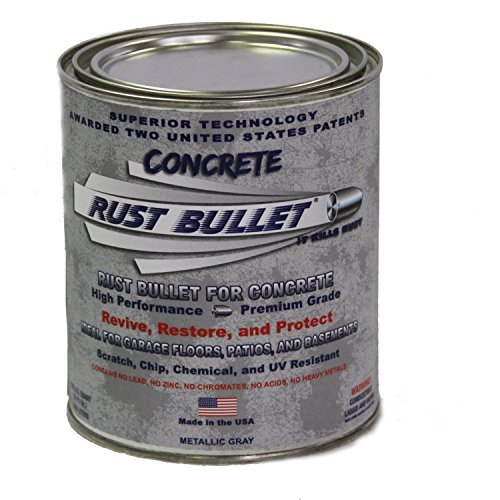 - Rust Bullet RBCONQ Metallic Gray Protective Floor Coating for Concrete, 1 Quart