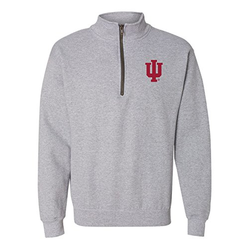 UGP Campus Apparel AQ07 - Indiana Hoosiers Primary Logo Left Chest (1/4) Quarter Zip Sweatshirt - Medium - Sport Grey