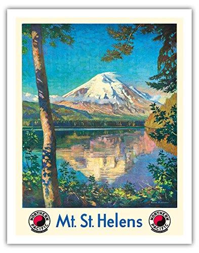Mt. St. Helens - Spirit Lake, Washington USA - Cascade Mountain Range Volcano - Northern Pacific Railway - Vintage World Travel Poster by Gustav Wilhelm Krollmann c.1920s - Fine Art Print - 11in x 14in