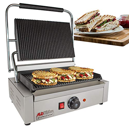 Panini Sandwich Press Grill | Durable Stainless Steel Construction with Adjustable Temperature Control ALDKitchen NP-590 (Size 9